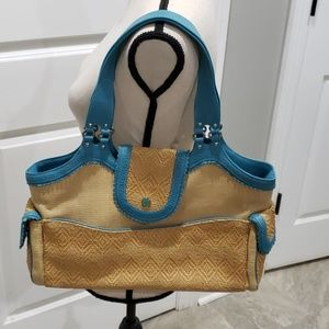 Straw purse with turquoise accents